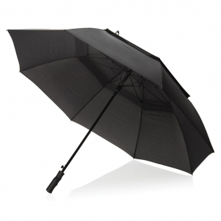Double layer 190T pongee polyester auto open storm umbrella. Metal frame, fibreglass ribs and rubber handle packed in Swiss Peak pouch. Storm proof function.