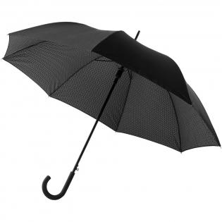 Paraplu met dubbellaags scherm, aan de binnenzijde voorzien van art deco-print. Automatisch openend. Scherm van pongézijde, stalen schacht en zacht handvat met rubberlaag. Geleverd met bijpassende hoes.