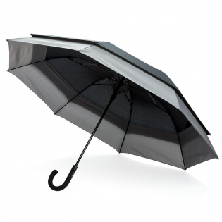 """Folded, this umbrella is as light and small as a 23"""" size. Upon opening, the umbrella will automatically expand to a size of 27"""". This gives you more protection and makes it suitable for 2 people. Automatic open umbrella in 190T pongee polyester with metal shaft, fibreglass ribs, PP tips, matte black handle. With stormproof function."""