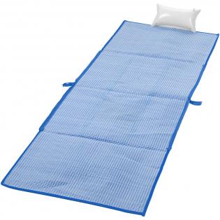 2-in-1 opvouwbare strandmat in een handige schoudertas van 60 x 44 cm. Inclusief zakje en opblaasbaar kussen. Lengte hengsel 28 cm.