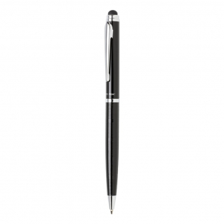 Unique styled pen with a luxury lined pattern on the barrel. This exclusive designed stylus ballpoint pen is an attractive, high quality gift. Including Swiss Peak tube giftbox. Blue ink.