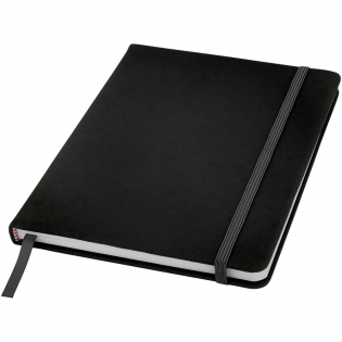 A5 notebook with matching colour elastic closure and ribbon. Includes 96 sheets (60g/m2) blank paper.