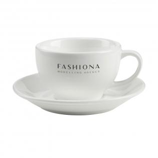 Hochwertige Keramik-Tasse und Untertasse, für Cappuccino. Fassungsvermögen 210 ml. Spülmaschinengeeignet. Der Aufdruck ist spülmaschinengeprüft und nach EN 12875-2 zertifiziert.