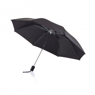 Manual, 2-fold umbrella in 210T polyester with metal shaft, metal frame, metal tips, PP top and handle.