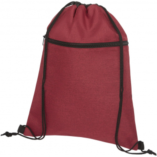 Drawstring backpack with large main compartment with string closure in black colour. Designed with heathered colour effect in the front panel and black colour in the back panel. Features a zippered front pocket. Resistance up to 5 kg weight. There may be minor variations in the colour of the actual product due to the nature of the fabric dyes, weaves, and printing.