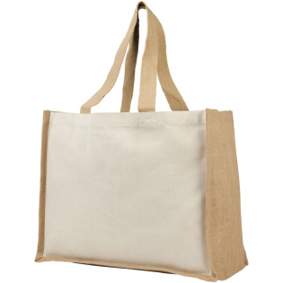 On-trend shopping bag with print-friendly 320 g/m² canvas side panels and distinctive hardwearing laminated jute framing design, and cotton handles.