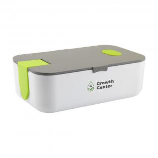 Luxuriöse Lunchbox aus hochwertigem Kunststoffmaterial. Der Deckel schließt dank des Silikon-Dichtungsrings und des zusätzlichen Schnappverschlusses perfekt. Mit abnehmbarem Trennwand und Lüftungsöffnung. Der Klickverschluss kann als Telefonhalter verwendet werden. Diese Box ist für den Kühlschrank geeignet und kann daher auch als luftdichte Frischhaltebox verwendet werden. Mikrowellengeeignet.