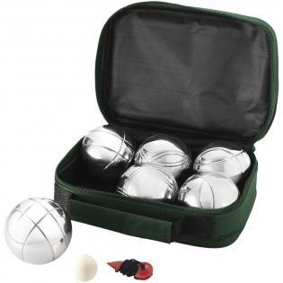 Jeu de boules set met 3 x 2 metalen ballen en een houten balletje plus afstandsmeter. Geleverd in een opberghoes.