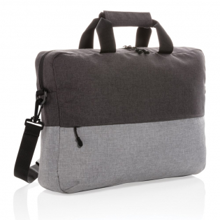 """Be ready on the go with your laptop and other must-haves packed safely and stylishly inside this laptop bag. This duo colour laptop bag is made from RPET and features a minimalistic design. Fits a 15.6"""" laptop. RFID pocket inside to protect you from skimming. PVC free. Exterior: 100% 600D melange RPET / Lining: regular 210D polyester"""