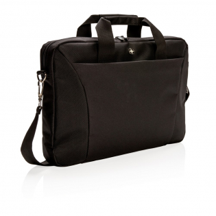 """Carry your 15.4"""" laptop to and from work inside this slim 600D with 1680D polyester laptop bag from Swiss Peak. Includes a padded pocket for your laptop, a separate pocket to hold your iPad or tablet, and a front zippered extensive organiser with pen sleeves and pockets to hold all of your small accessories. Also comes with a rear luggage opening that can be slid over the handle of your upright rolling suitcase. Versatile carrying options with the adjustable & detachable shoulder strap. PVC free."""