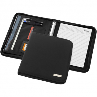 Portfolio with zipper closure, ring binder, document pockets and 20 pages lined notepad. Pen and accessoires not included.