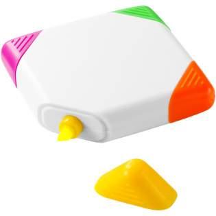 Surligneur de forme carrée à pointe biseautée en jaune, orange, rose et vert.