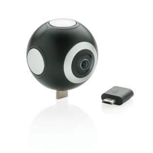 Maak prachtige 360 graden HD foto's en video's met deze 360-camera die gemakkelijk op elke Android-tablet of telefoon kan worden geplaatst. Met de gratis APP kunt u uw 360 graden opnamen live op sociale media zoals Facebook, Twitter, Instagram of YouTube streamen. U kunt ook uw foto's en video's bewerken en u kunt zelfs uw eigen VR-films maken. Een micro USB stekker is inbegrepen die kan worden vervangen voor een type C stekker voor de nieuwste generatie Android apparaten. Resolutie: video 2K (2048x1024) Afbeeldingen: 3K (3508x1504)