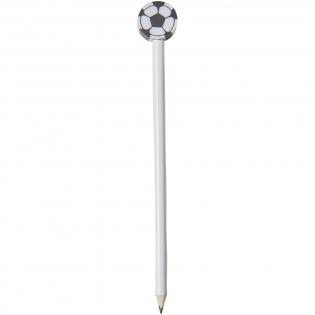 Crayon à papier en bois non taillé avec gomme en forme de ballon de football.