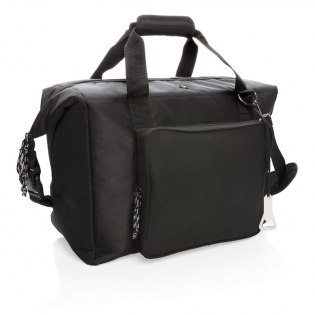 Deluxe 1680D and 600D polyester cooler tote bag with extra-large zipped main compartment and zipped front pocket. Can be easily transformed to a cooler duffle bag by closing the side straps. Huge 40L storage space; fits up to 10 x 1.5L bottles or 52 cans. Double reinforced carrying handles. Removable adjustable shoulder strap. Including beer opener. PEVA insulation.