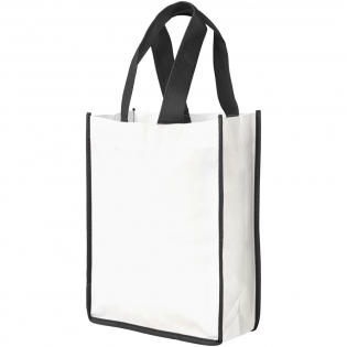 A shopping bag made from white non-woven PP material with coloured handles and edging. Fresh and colourful design. Compact and convenient version of the Contrast Shopper.