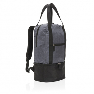 This two tone 500D polyester backpack has a main compartment for your beach gear and a bottom cooler compartment with space for up to 8 cans. Easy switch to tote bag with the straps.