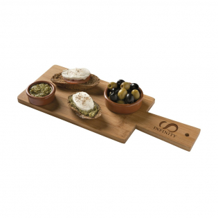 Bamboo serving board. With a finishing top layer of vegetarian soybean oil. Each piece in a box.