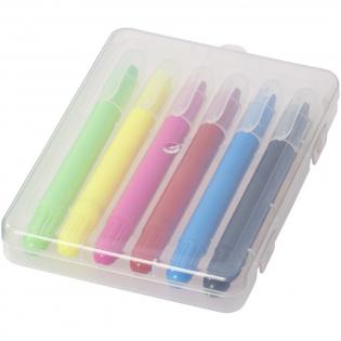 6 ausziehbare Farbstifte in einer Kunststoffbox.