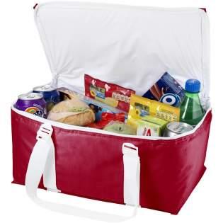 Große Kühltasche für bis zu 12 Dosen. Mit dem Tragegurt kann ein Handtuch transportiert werden.