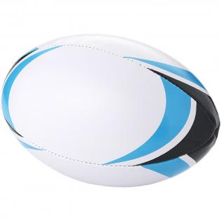 Ballon de rugby avec détails bleu clair. Ballon de rugby double couche, 4 panneaux avec design moderne bleu et noir. Taille 5.