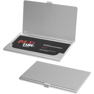 Porte -cartes de visite en aluminium. Peut contenir 10 cartes de visite environ.