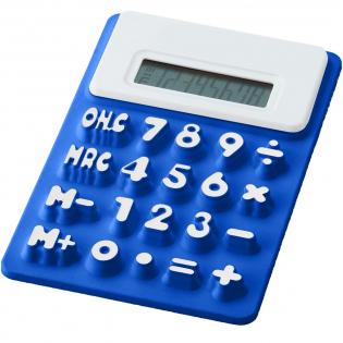 Flexibler Rechner mit 8 Stellen und weißem Zierrand, erhabenen Ziffern und Speicherfunktion. Inkl. Batterie.