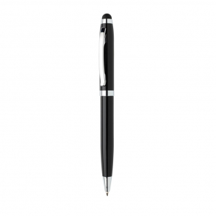 Black aluminium stylus pen with COB LED light. Including 3 buttton cell AG3 batteries. Including ca. 400m writing length German Dokumental® blue ink refill with TC-ball for ultra smooth writing.