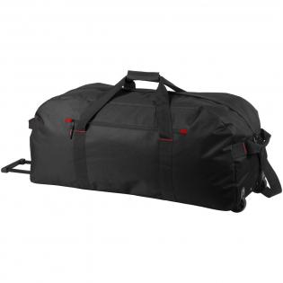 Große Reisetasche, Hauptfach und Tasche an der Vorderseite mit Reißverschluss. Mit Trolley-System.