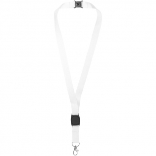 Lanyard for holding a name badge, ID card, or keys. Includes plastic centre piece for logo decoration. The breakaway closure eliminates choking hazards. Second location setup charge waived if both sides decorated with same artwork. Run charges still apply.