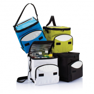 600D cooler bag with silver lined insulation inside to keep all your food and beverages cold. On the front there's one additional pocket with printed colour detail around the zipper for storing your other belongings.