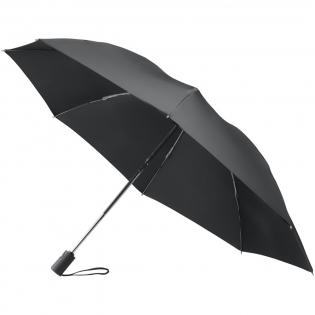 Parapluie en 3 parties pliable, réversible avec ouverture automatique, 23 pouces. S'ouvre et se ferme « à l'envers », pour garder le côté mouillé du parapluie à l'intérieur et éloigné de vous. Il est également plus facile à ouvrir et à fermer, à l'intérieur des halls et des voitures, vous permettant de rester au sec dès le début. Auvent à une couche en polyester avec pochette de rangements en polyester assortie. Polyester pongé 190T.