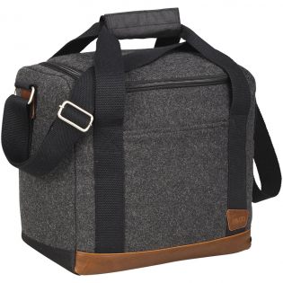 Part of the Field & Co.® Campster Series. Inspiration was drawn from retro camping and old school scout looks combined with modern needs. This stylish cooler bag combines wool/poly material and vinyl accents with the function of an insulated cooler with bottle divider. Die cut inserts slip together and create individual compartments for twelve individual 350ml bottles. When not in use they collapse and can be stored in the base of the bag. Includes a Field & Co.® branded bottle opener.