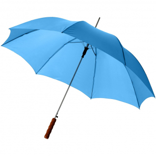 """23"""" umbrella with metal shaft, metal ribs and wooden handle."""