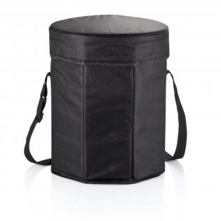 Panier en polyester noir 600D avec revêtement PE, diamètre 30 cm x hauteur 35 cm, pliable. Utilisable comme panier isotherme et comme siège.