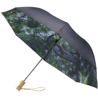 """21"""" Automatic opening two section folding umbrella. Dual layer polyester canopy with matching polyester pouch. Forest pattern on interior canopy. Metal shaft and wood handle with wrist strap."""