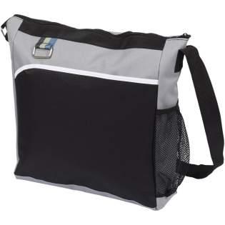 Zipped main compartment, front slip pocket, mesh water bottle pocket, metal key ring. Adjustable shoulder-length strap.