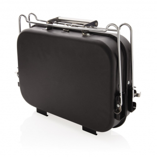 Portable and versatile suitcase-style barbecue with removable coal tray and carry handle. The barbecue features a lightweight yet durable stainless steel construction with a black powder coated finish and clasp to lock shut. Perfect for those spontaneous picnics in the outdoors.