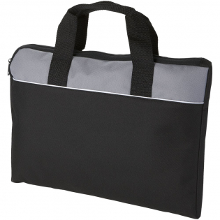 Document bag with zippered main compartment. Dual carriyng handles.