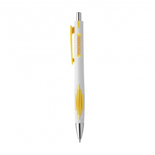 Blue ink ballpoint pen with striking grip for an enjoyable writing experience and large, coloured clip.