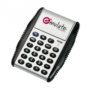 Calculator with rubber keys, 8-digit display and hydraulic cover/stand. Battery Incl. Each piece in a box.