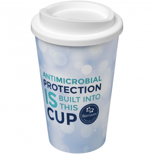 Double-wall insulated tumbler with twist-on lid. Features a full colour wraparound design moulded to the product. The lid and inner contain Biomaster antimicrobial technology which provides protection against the growth of harmful micro-organisms on the surface of your mug. This is effective for the lifetime of the product, and doesn't affect the recyclability. Dishwasher safe and microwave safe. Volume capacity is 350 ml. Made in the UK. Packed in a home-compostable bag.