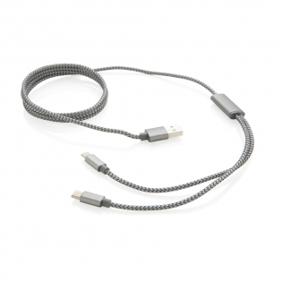 Câble tressé 3 en 1 avec type C et connecteur double pour les appareils iOS et Android qui nécessitent un micro USB. Câble tressé de 120cm en nylon avec connecteurs en aluminium, uniquement pour la charge.