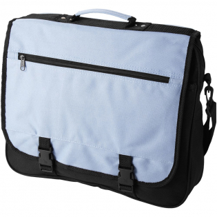Exhibition bag with adjustable shoulder strap, buckle closure flap, zipper pocket in flap, zippered main compartment and several open pockets under flap.