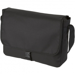 Shoulder bag with open main compartment closed by flap with buckel closure. Adjustable shoulder strap.