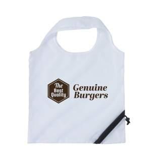 Faltbare Einkaufstasche aus strapazierfähigem Polyester. Im Handumdrehen falten Sie die Einkaufstasche zu einem kleinen Etui. Tasche entfaltet 42 x 38 cm.