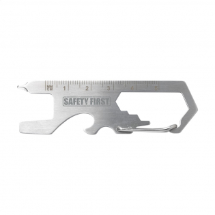 Pocket-sized stainless steel multitool. With 8 functions: bottle opener, carabiner, Phillips screwdriver, flat-blade screwdriver, Allen key in 3 sizes, ruler (5 cm). Small in size, so it's very easy to attach to a keychain.