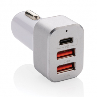 Super fast car charger with triple output. The item comes with two regular USB ports and one USB C output that supports power delivery fast charging. This will allow you to charge your mobile device in under one hour if it supports PD charging. Input 12V~ 24V; Type-C output (PD) 5V/3A,9V/2A,12V/1.5A; Two USB total output: 5V/2.4A. PC body and aluminium alloy front.