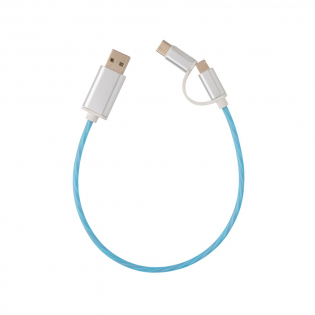 Modern 3 in 1 cable with flowing light effect when charging. With type C and double-sided connector for iOS and Android devices that require micro USB. TPE material cable with connectors made out of durable aluminium. Suitable for charging. Length 30 cm.
