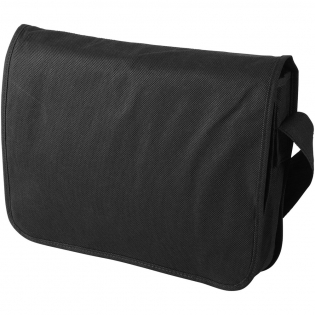 Dispatch bag with shoulder strap, open main compartment and several pockets under flap.